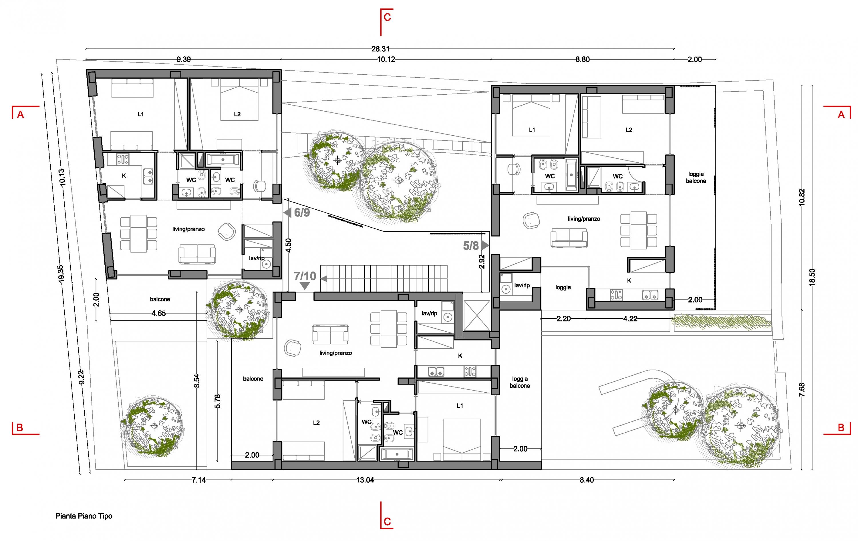 Edificio residenziale progetto 2015 antonio pelella for Progetti contemporanei di case a pianta aperta